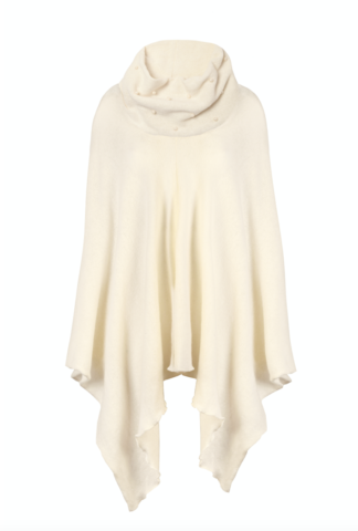 cream poncho with pearls