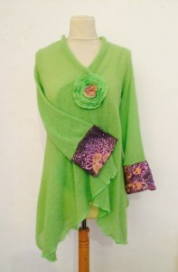 India Lime Cardigan with Embroidered Cuff