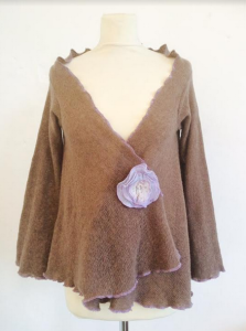 Cocoa Cardi with Lavender Rose