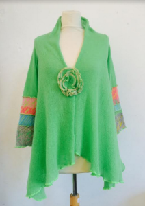 Lime cardi with tiger pattern sleeve
