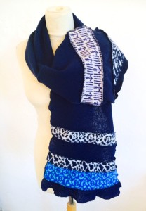 Navy pattern scarf
