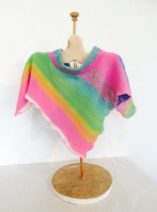 Rainbow stripe poncho