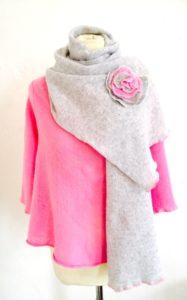 Pearl grey rose scarf