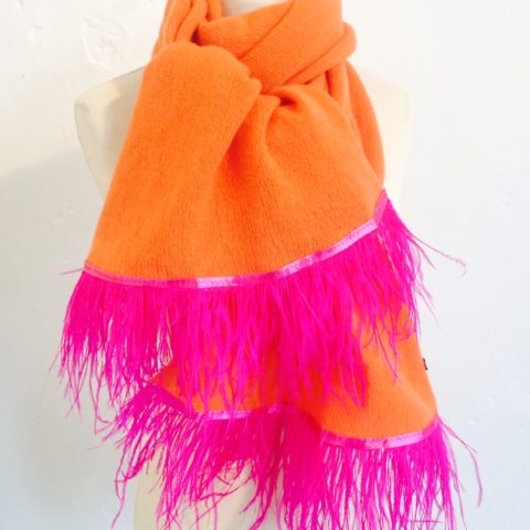 Tangerine Scarf with Shocking Pink Feather Trim