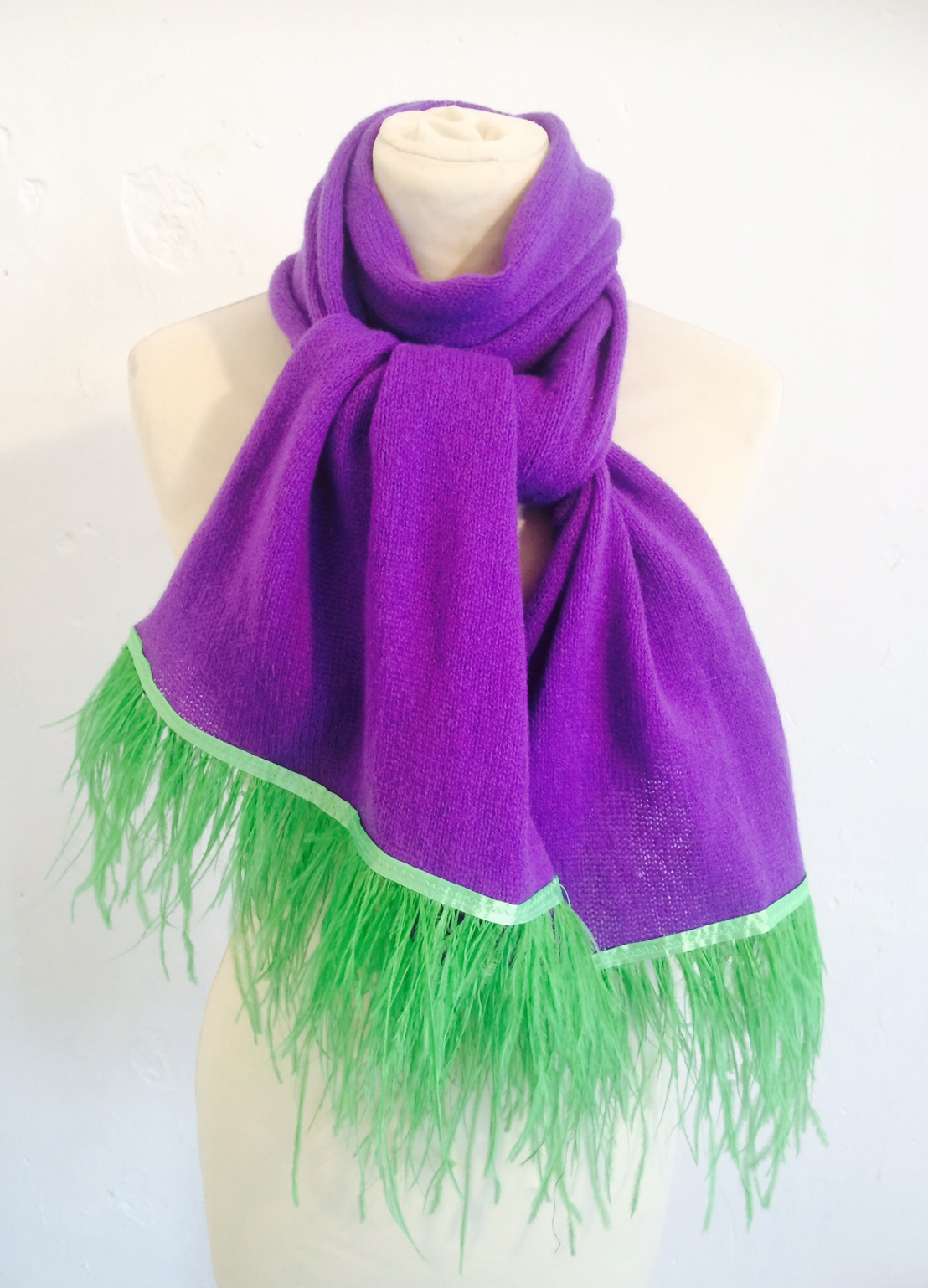 Violet Scarf with Feather Trim