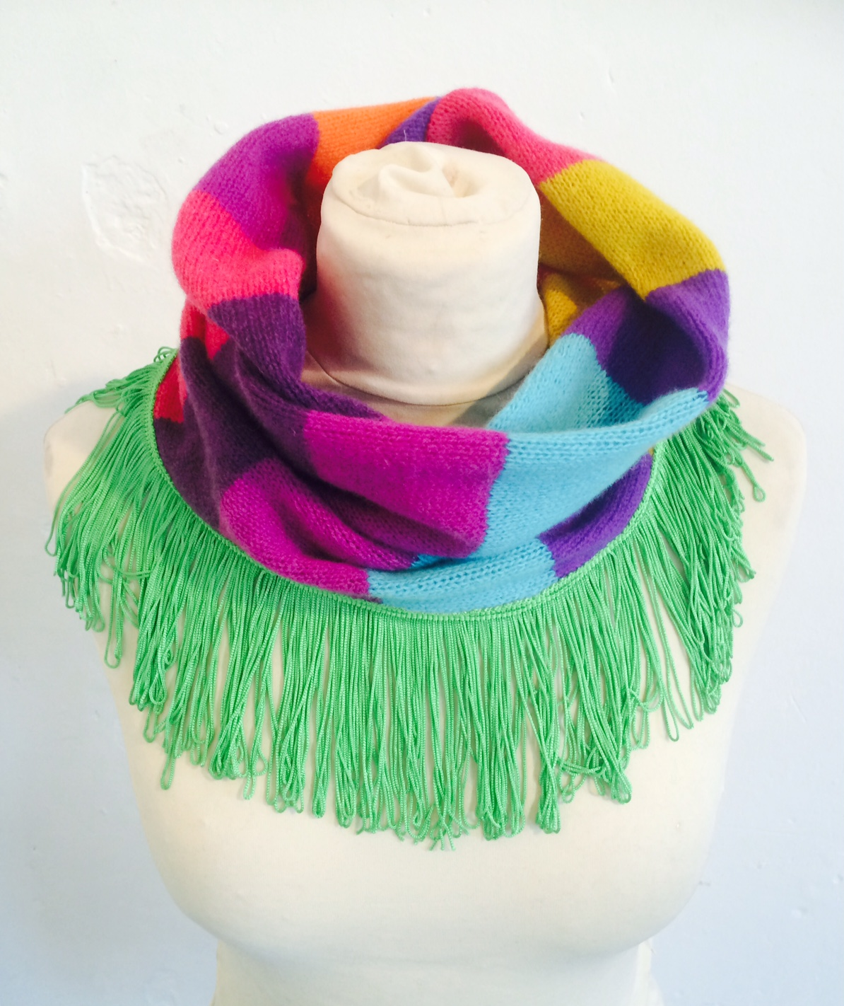 Rainbow Snood with Fringe Trim