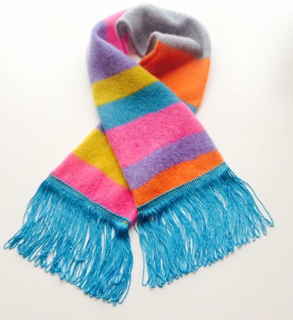 Kids Circus stripe scarf fringe trim